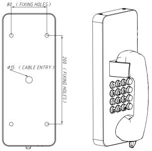 Drawing Telefono Antivandalico JR205-FK Montaje Pared