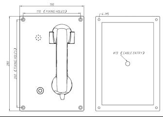 Drawing Montaje en Pared JR208-CB Telefono Antivandalico Vozell